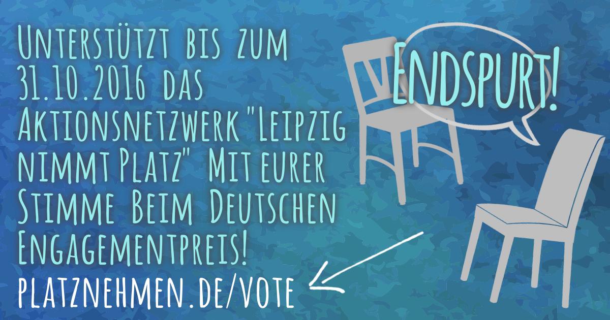 """Leipziger Initiative """"Leipzig nimmt Platz"""" ist unter den Favoriten für den Deutschen Engagementpreis"""