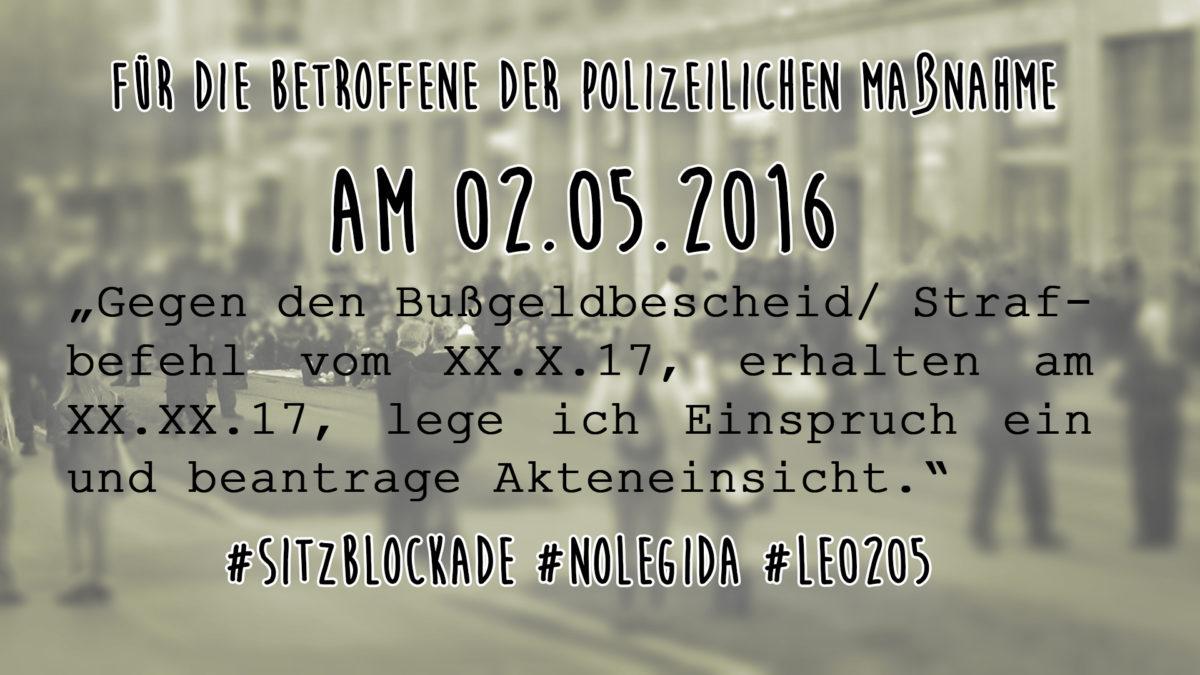 Für die Betroffene der polizeilichen Maßnahme am 02.05.2016