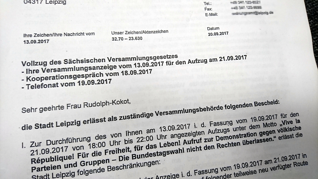 """Gemeinsame Erklärung von """"No Legida"""" und """"Leipzig nimmt Platz"""" zum Versammlungsgeschehen am 21. September 2017"""