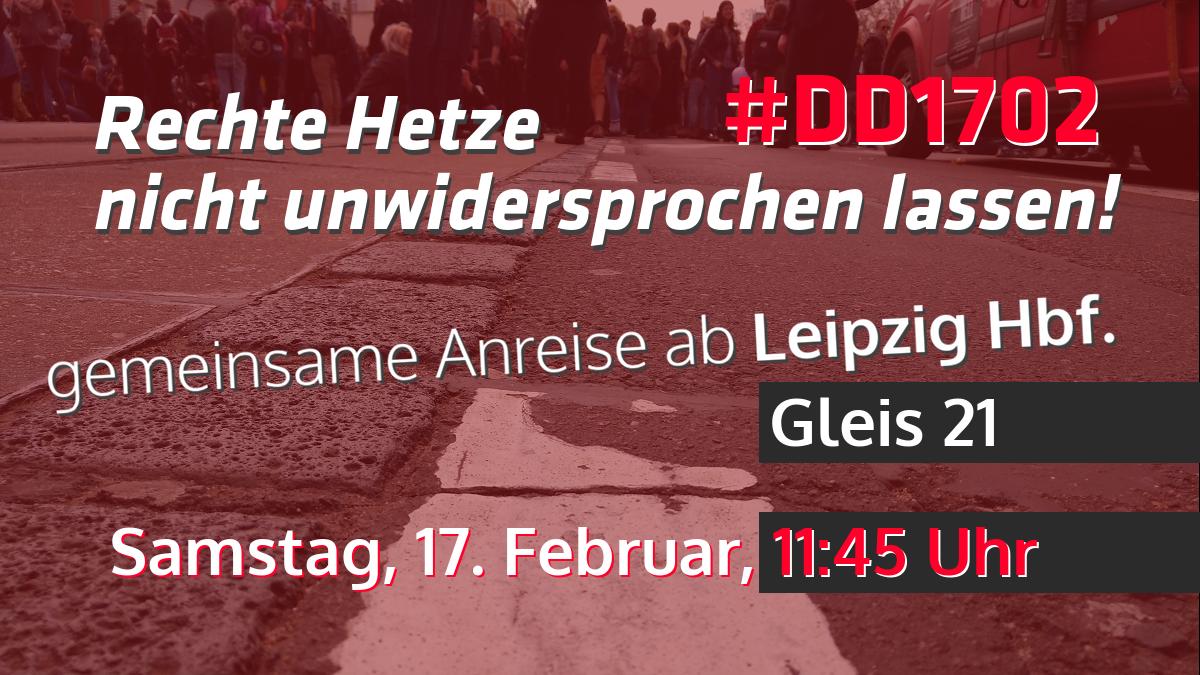 Gemeinsame Anreise von Leipzig nach Dresden am 17.02., 11:45 ab Hbf.