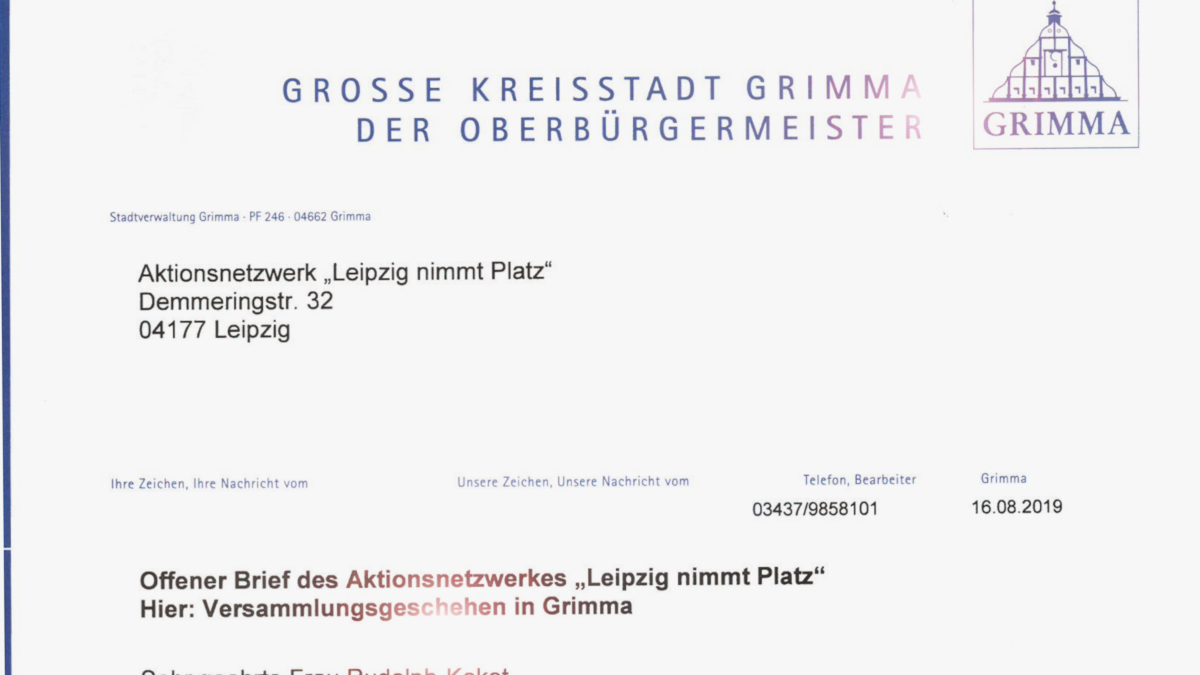 Offener Brief an Grimmas OBM Berger