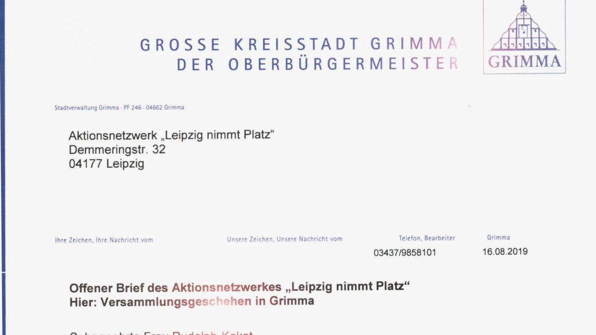Antwortbrief OBM Grimma